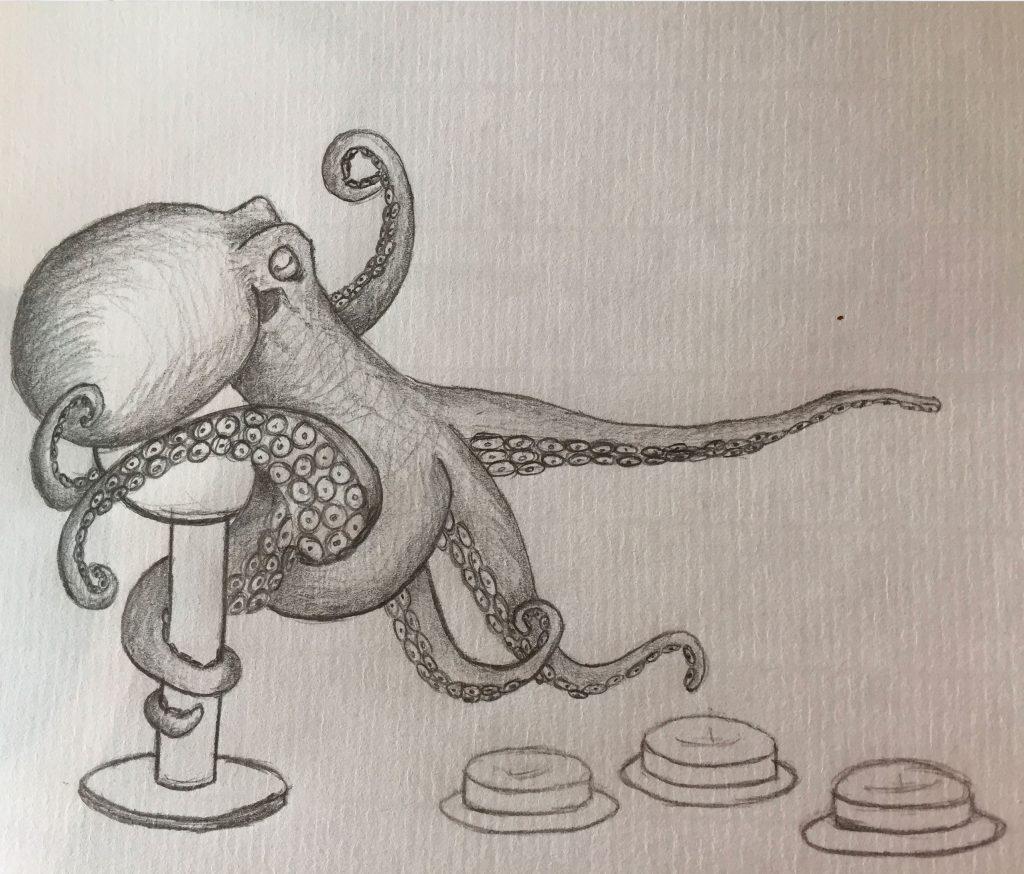 poulpe dessiné au crayon papier danmaku